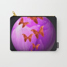 Violet Flower Bud With Apollo Butterflies Illustration On A Black Background #decor #society6 Carry-All Pouch