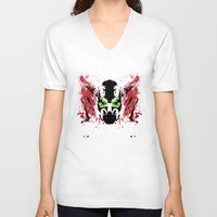 spawn V-neck T-shirts featuring Rorschach Spawn | Textured by Normal-Sized Deet
