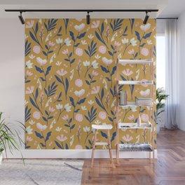 Mustard Floral Pattern Wall Mural