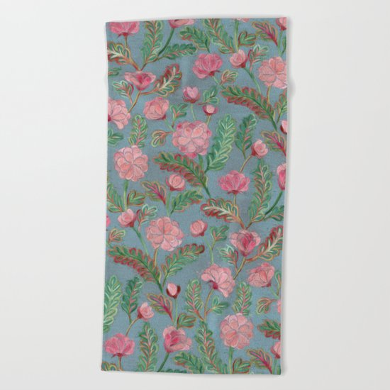 Soft Smudgy Pink and Green Floral Pattern Beach Towel