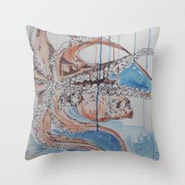 Into Orange and Blue Throw Pillow