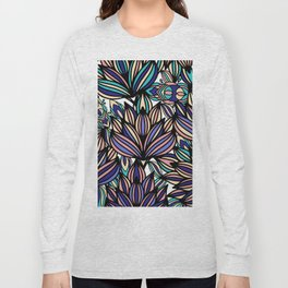 Modern hand painted black coral teal watercolor floral Long Sleeve T-shirt