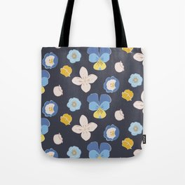 Spring Buds_charcoal blue Tote Bag