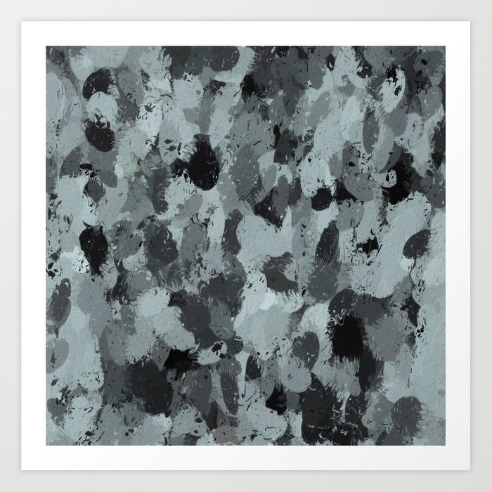 Black and Smokey Blue Pastels 3216 Art Print