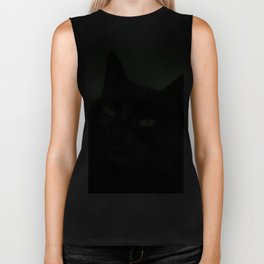 Relaxed Black Cat Portrait  Biker Tank