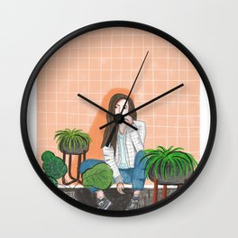 girl in peach with plants illustration painting Wall Clock