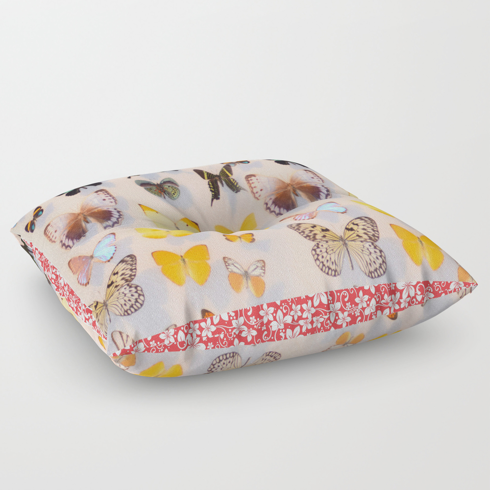 Butterflies With Border Square Floor Pillow by Lisacallear FPL7526815