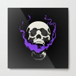 Smoking Skull Metal Print