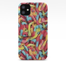 Neon Sour Gummy Worms Photo Pattern iPhone Case