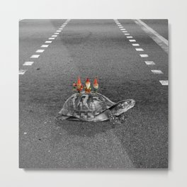 gnomes on a turtle Metal Print
