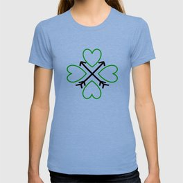 St. Patrick's Day Shamrock Lucky Charm Green Clover Veart with Arrows T-shirt