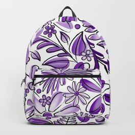 Purple and Lavender Flower Garden - Hand Drawn Vector Florals Backpack