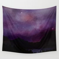 night sky Wall Tapestries featuring Night Sky by Ale Ibanez