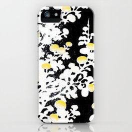 White Yellow Flowers on Black Background iPhone Case