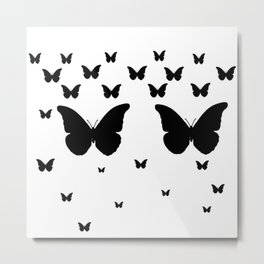 GOTHIC EBONY BLACK BUTTERFLIES & WHITE-BLACK ART Metal Print