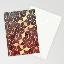 Gold Red Velvet Gradient cube Art print Stationery Cards