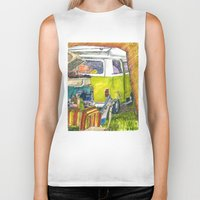 volkswagon Biker Tanks featuring VW Bus Campsite by Barb Laskey Studio