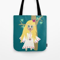 hippie Tote Bags featuring Hippie by lescapricesdefilles