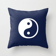 Indigo Navy Blue Yin Yang Throw Pillow