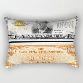 Vintage 1934 $100,000 Dollar Bill Gold Certificate Woodrow Wilson Wall Art Rectangular Pillow