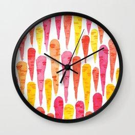 Rainbow Carrot pattern // watercolor in pink + orange + yellow Wall Clock
