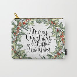 Merry Christmas and Happy New Year! Watercolor Carry-All Pouch