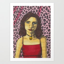 Polly Jean and the Pink Leopard Art Print