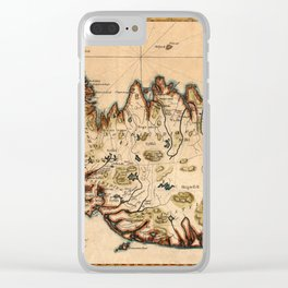 Map Of Iceland 1780 Clear iPhone Case