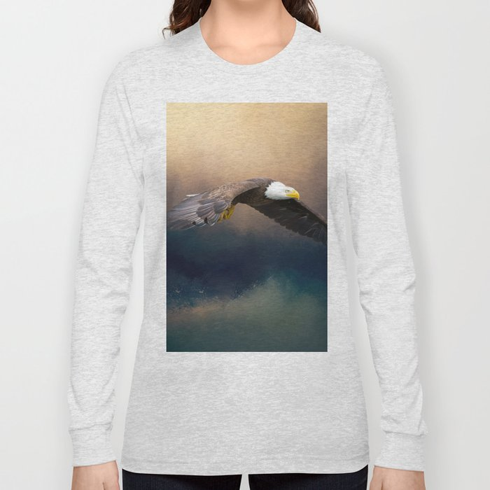 Painting flying american bald eagle Long Sleeve T-shirt