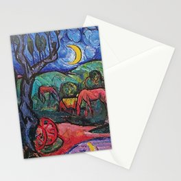 Moonlight on the Horses by the Pool landscape painting by William Sommer Stationery Cards