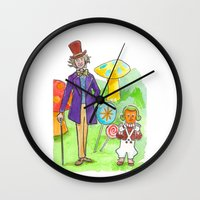 willy wonka Wall Clocks featuring Pure Imagination: Willy Wonka & Oompa Loompa by Michael Richey White by lost robot