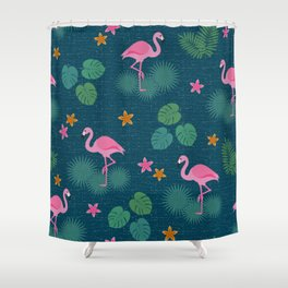 Bohemian nonchalance tropical flamingo pattern on dark background Shower Curtain
