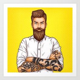 brutal bearded man, macho with tatoo Art Print
