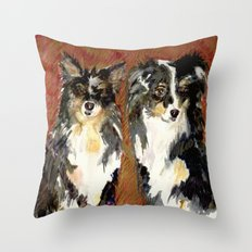 Two Australian Sheep Dogs Throw Pillow