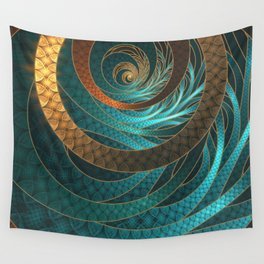 Beautiful Corded Leather Turquoise Fractal Bangles Wall Tapestry