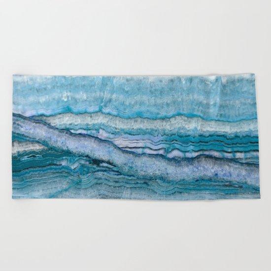 Mystic Stone Aqua Blue Beach Towel