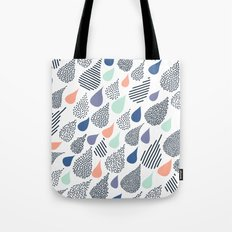 Playful Rain in White Tote Bag