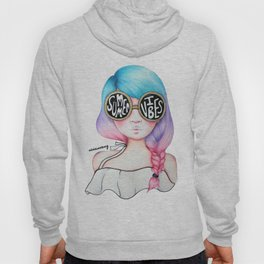 Summer Vibes Colourful Hair Girl Drawing Hoody