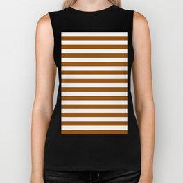 Narrow Horizontal Stripes - White and Brown Biker Tank