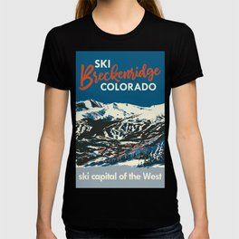 Blue Breckenridge Vintage Ski Poster T-shirt