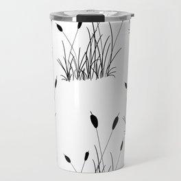 Cattail Silhouette Print Travel Mug