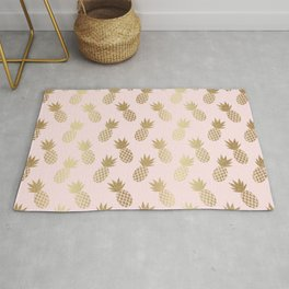 Pink & Gold Pineapples Pattern Rug