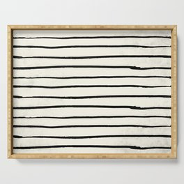 Horizontal Ivory Stripes II Serving Tray