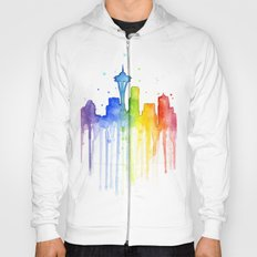 Seattle Skyline Rainbow Watercolor Hoody