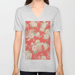 coral elise floral Unisex V-Neck