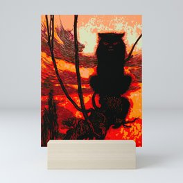 Seth the Grumpy Halloween Cat Mini Art Print