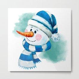 Blue Snowman 02 Metal Print