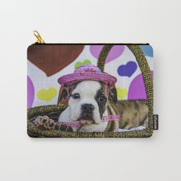 English Bulldog Puppy Wearing a Pink Straw Hat Sitting in a Basket in front of Rainbow Hearts Carry-All Pouch