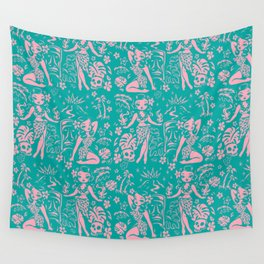 Tiki Temptress in Pink and Turquoise Wall Tapestry