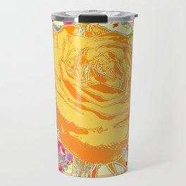 CORAL COLOR ART &  ORANGE ROSE PINK  FLOWERS  DESIGN Travel Mug